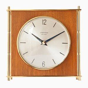 Ato-Mat Brass & Teak Mantel Clock from Junghans, 1960s