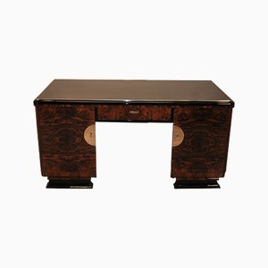 Art Deco Desk with Burl Wood Doors