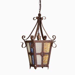 Lanterne Vintage avec Panneaux de Verre Multicolore, France