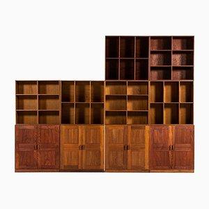 Sechs Vintage Bücherregale & vier Schränke