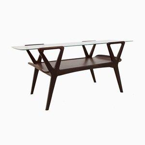 Scandinavian Teak Coffee Table with Glass Top, 1960s