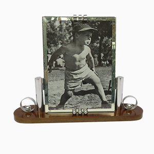 Art Deco French Wood & Chrome Picture Frame