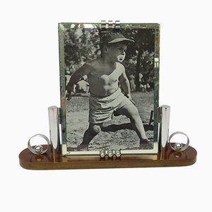 Französischer Art Deco Bilderrahmen aus Holz & Chrom