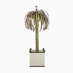 Hollywood Regency Brass Palm Tree Floor Lamp from Maison Jansen
