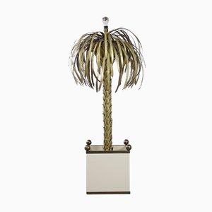 Lampada da terra Hollywood Regency a forma di palma in ottone di Maison Jansen
