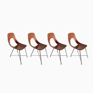 Ariston Dining Chairs by Augusto Bozzi for Saporiti Italia, 1950s, Set of 4