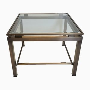 Square Brass & Glass Side Table by Maison Jansen, 1970s