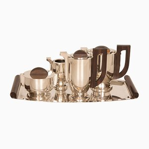 Art Deco Silver & Rosewood Tea Set, 1930s