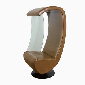 Mid-Century Glass-Sided Swivel Chair, 1970s