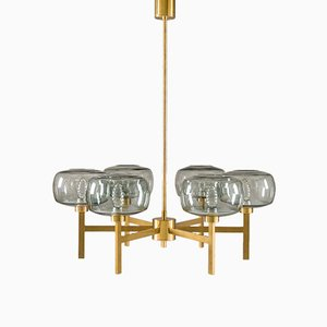 Large Vintage Swedish Chandelier in Brass & Glass by Holger Johansson for Westal
