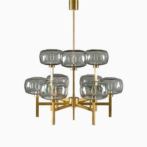 Lámpara de araña sueca de vidrio y latón de Holger Johansson para Westal