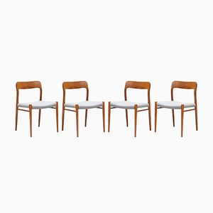 Model 75 Teak Dining Chairs by Niels Otto Møller for J.L. Møllers, 1960s, Set of 4