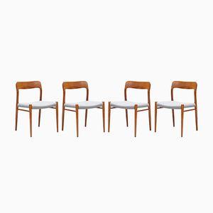Sedie da pranzo modello 75 in teak di Niels Otto Møller per J.L. Møllers, anni '60, set di 4