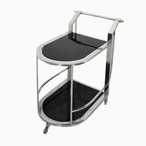 Bauhaus Chrome & Glass Bar Cart, 1950s