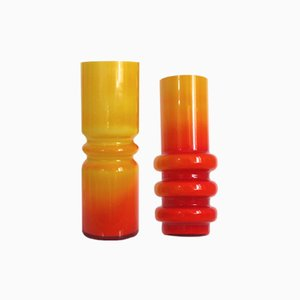 Orange Hooped Vases by Ryd Glasbruk, 1960s, Set of 2