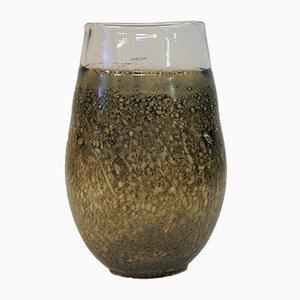 Vaso vintage in vetro effetto fossile di Kjell Engman per Kosta Boda