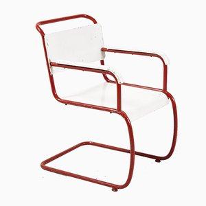 Armlehnstuhl in Rot & Weiß im Bauhaus Stil, 1930er