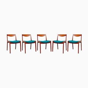Esszimmerstühle von Vilhelm Wohlert für Poul Jeppesen, 1958, 5er Set
