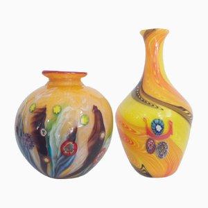 Gelbe Millefiori Vasen von Fratelli Toso, 1950er, 2er Set