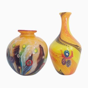 Yellow Millefiori Vases from Fratelli Toso, 1950s, Set of 2