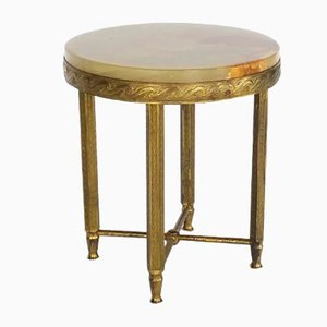 Mid-century Brass Side Table with Onyx Top, 1960s