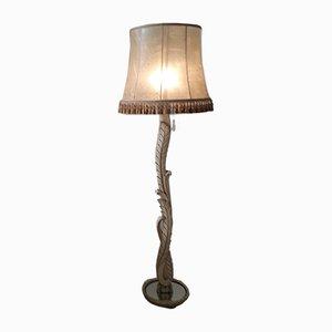 Stehlampe aus geschnitztem Holz mit verspiegeltem Sockel & Quastenschirm