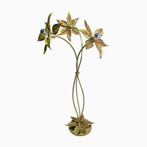 Lampadaire Hollywood Regency Floral Doré de Massive
