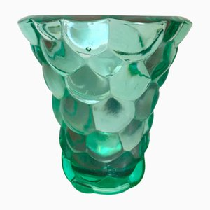 Glass Vase with Scales by Pierre D'Avesn, 1940s