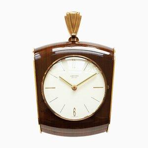 Horloge Murale Ato-Mat Style Art Deco Style en Laiton & Verre de Junghans, 1960s