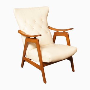 White Armchair in Buttoned Skai by Louis van Teeffelen, 1950s