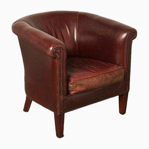 Club chair in pelle di pecora marrone, anni '80