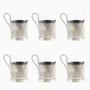 Vintage Soviet Russian Podstakannik or Glass Holders, Set of 6
