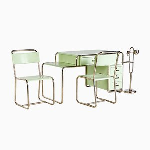 Bauhaus Style Green Work Room Set from Ideal Tubular Furniture Factory, 1930s