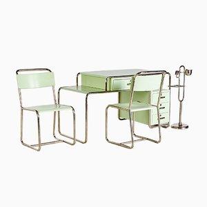 Juego de sala de trabajo estilo Bauhaus en verde de Ideal Tubular Furniture Factory, años 30