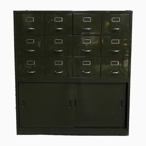 Mid-Century Industrial Steel Chest with 12 Drawers
