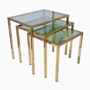 Tavolini ad incastro bassi in ottone, anni '60