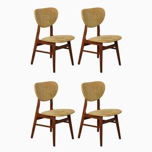 Esszimmerstühle aus massivem Teak, 1950er, Set of four