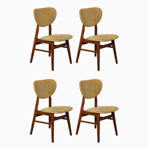 Solid Teak Dining Chairs, 1950s, Set of 4