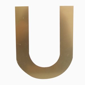 Vintage Metal Letter U in Gold