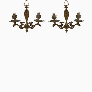 Vintage Bronze Sconces, Set of 2