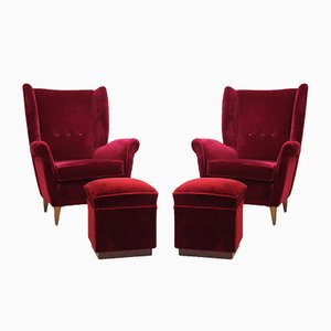 Mid-Century Armchairs with Poufs by Gio Ponti, 1940s, Set of 2