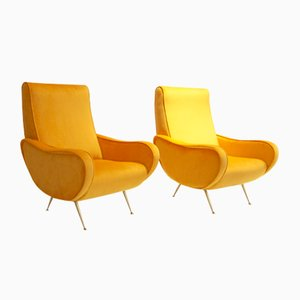 Italian Mustard Armchairs, 1950s, Set of 2