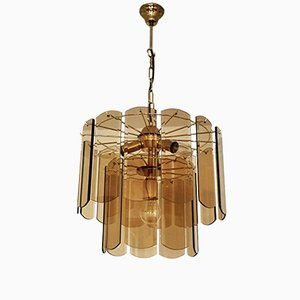 Hollywood Regency Murano Smoked Glass Chandelier, 1960s