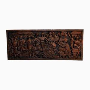 Placca Ashanti Mid-Century in legno intagliato