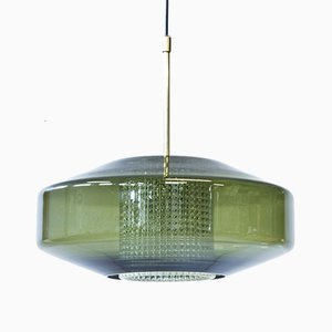 Green Glass & Brass Pendant by Carl Fagerlund for Orrefors, 1960s