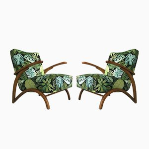 Velvet Armchairs by Jindřich Halabala for Thonet, 1930s, Set of 2
