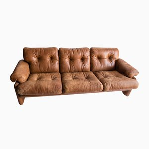 Coronado Leather Sofa by Tobia & Afra for B&B, 1970s