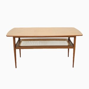 Table Basse Moderne Sculpturale en Teck & Rotin, Danemark