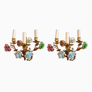 Antique Venetian Murano Glass Sconces, Set of 2