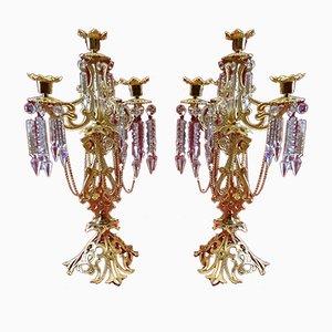 Antike Kerzenständer aus Bronze, 2er Set